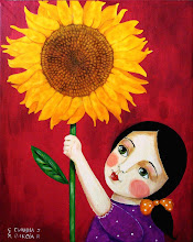 Girl with Huge Sunflower