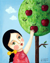 Girl reaching apples