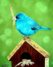 Indigo Bird on Birdhouse
