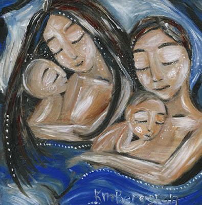One To One, motherhood painting by Katie m. Berggren, featuring family bed, co-sleeping