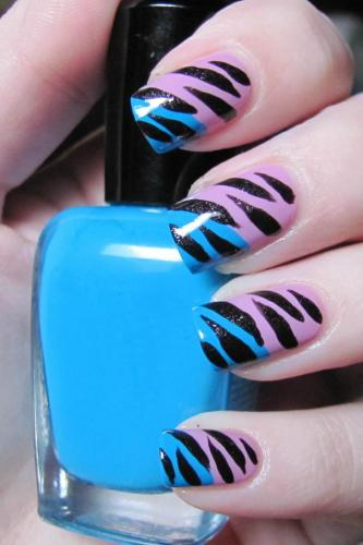 Blue and Pink Zebra Nail Design