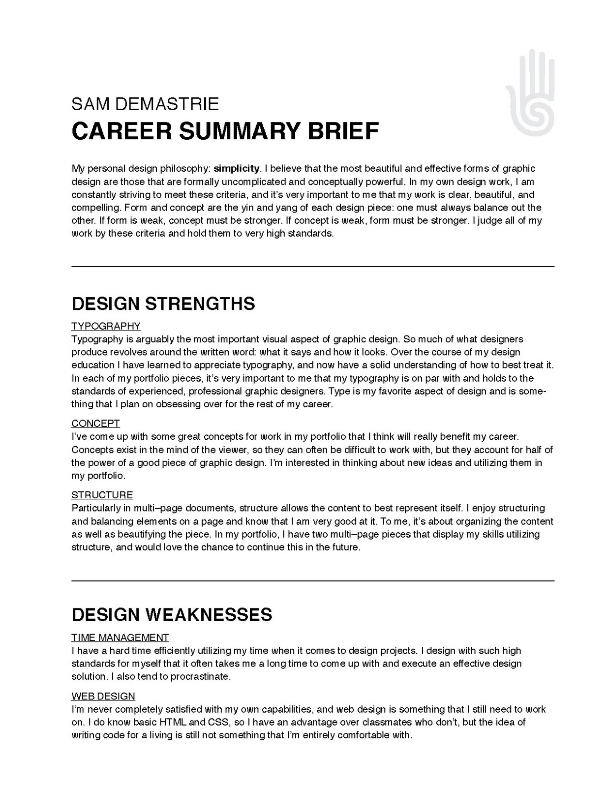 career overview resumes
