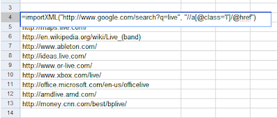 Import HTML Data in Google Spreadsheets(导入HTML数据到Google 表格中)