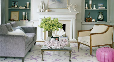 The chair and the vase together balance the sofa. I love this design.