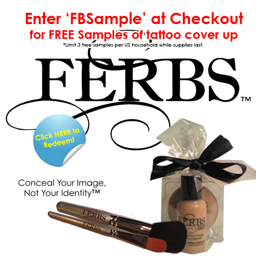 FREE sample of Ferbs tattoo cover-up make-up! Watch the one minute demo on