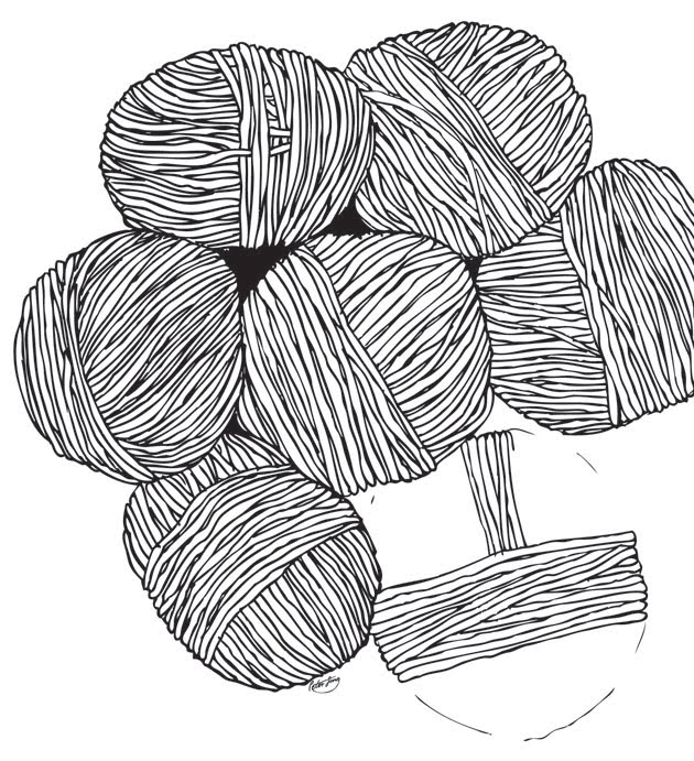 Balls of black and white pen drawn yarn