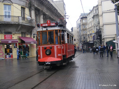 The Tram On Istiklal Caddesi in Istanbul