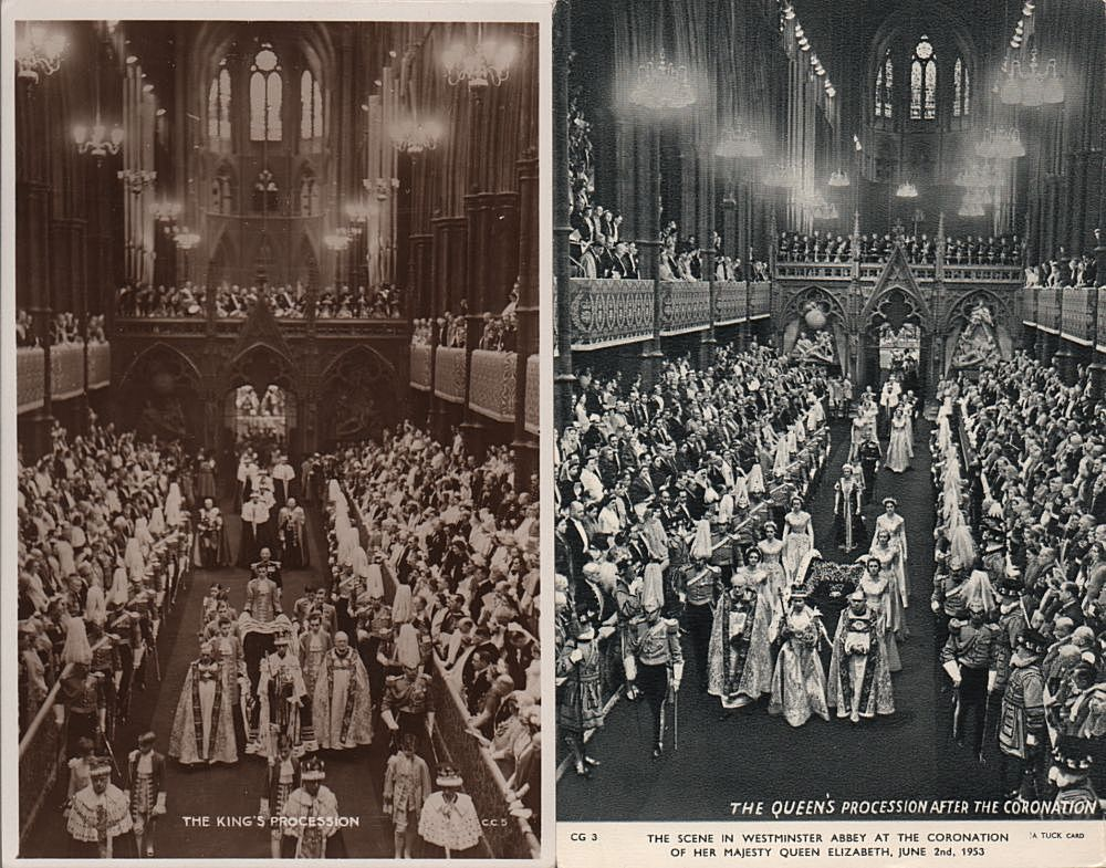 cards showing coronation processions of Elizabeth II and George VI