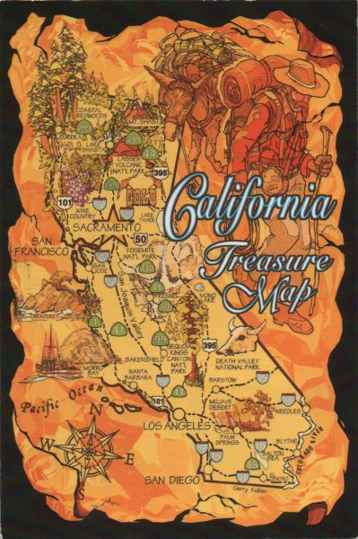 golden coloured map of California