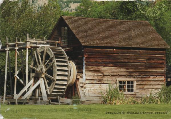 wooden built waterwheel-powered flour mill