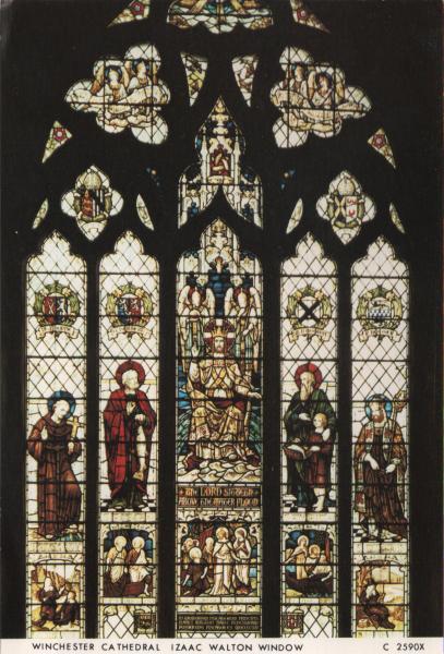 stained glass window showing Izaac Walton