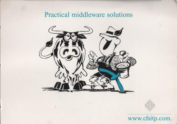 advertisement card showing a farmer milking a cow
