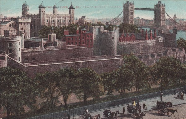 vintage postcard showing Tower of London and Tower Bridge