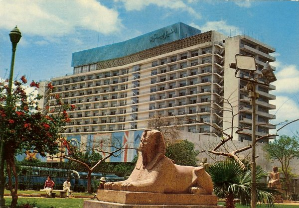 multi storey hotel with sphinx