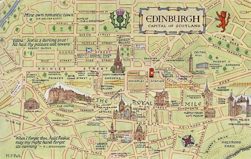postcard map of Edinburgh