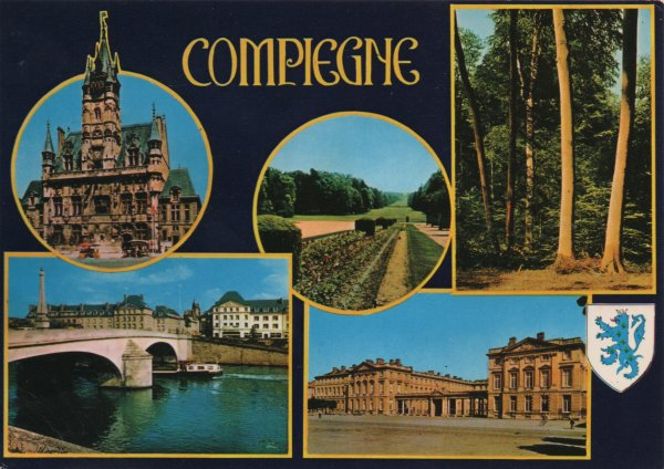 multiview postcard of scenes in and around Compiègne