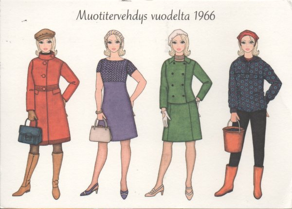 four young women in sixties clothes