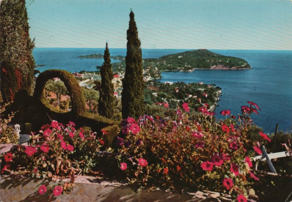 late 1970s postcard of Cap Ferrat and the Mediterranean