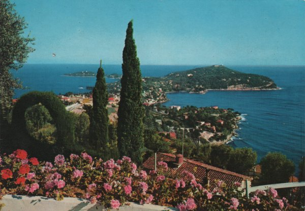 1980s postcard of Cap Ferrat and the Mediterranean