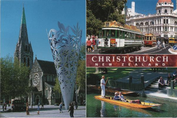 multi-view postcard of Christchurch showing cathedral, tramcars, and the river