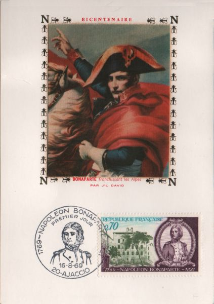 card and stamp showing Napoleon Bonaparte