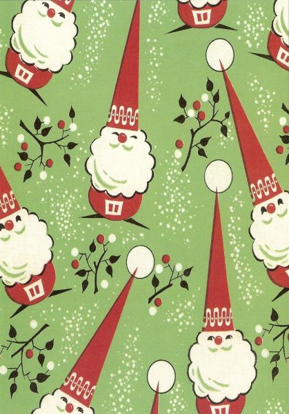 stylised Santa Clauses with pointed hats