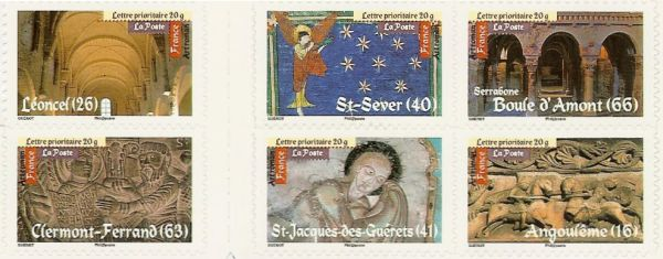 part of a stamp booklet showing romanesque art in France