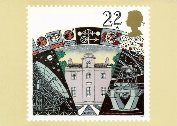 Post office issued postcard showing 22p astronomy stamp