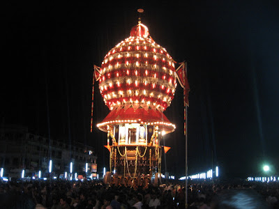 Brahma Ratha decorated with electric bulbs