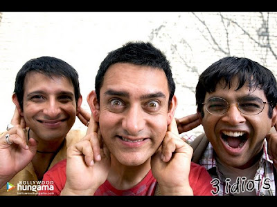 3 Idiots film poster featuring Aamir Khan, Madhavan and Sharman Joshi