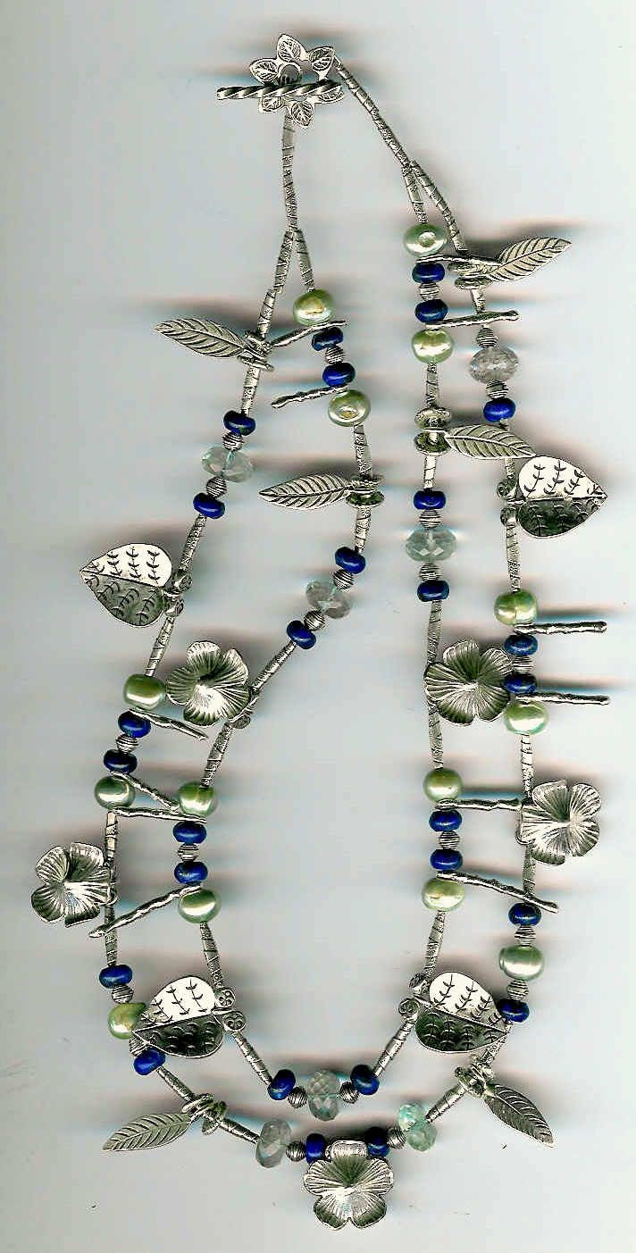 7. Lapis Lazuli, Freshwater pearls, Green Amethysts, and Karen Hill Thai Sterling Silver