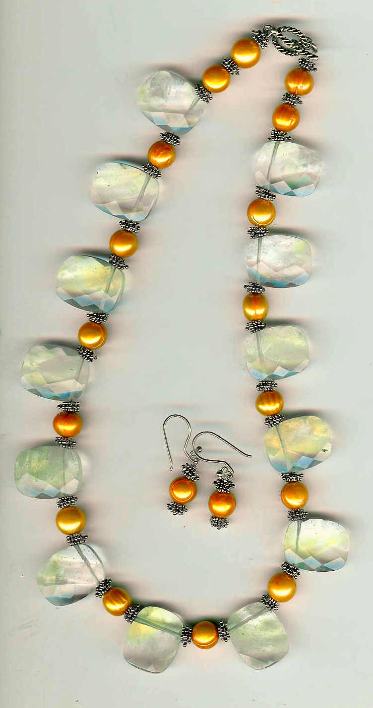 8. Pineapple Topaz and Orange Frewater Pearls with Bali Sterling Silver