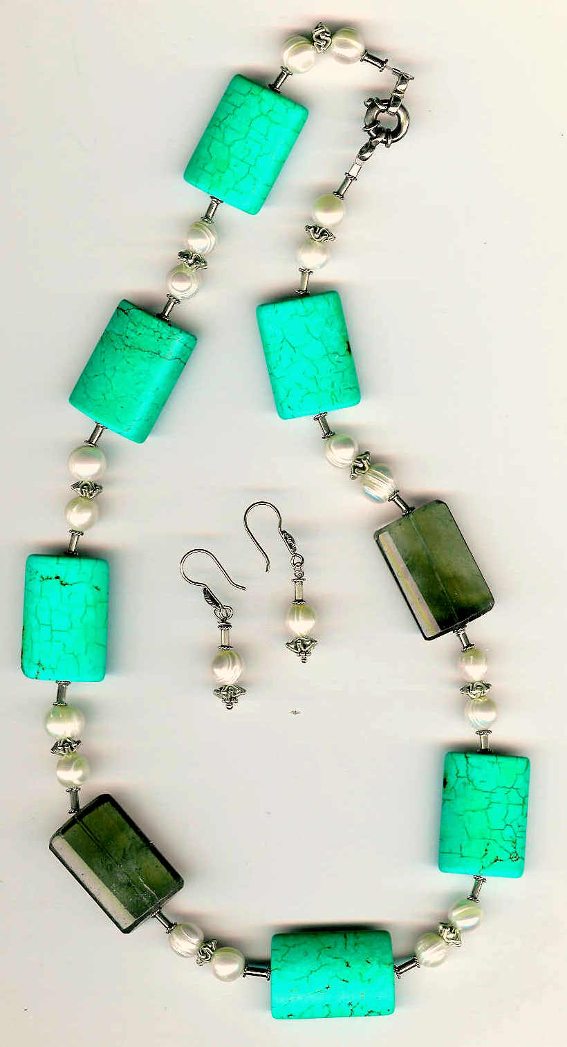 30. Turquoise, Topaz, Freshwater pearls with Thai and Bali Sterling Silver + Earrings