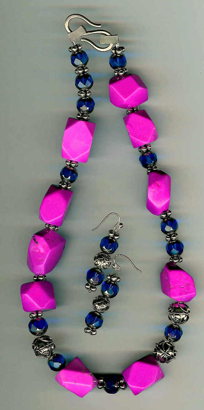 21. Pink Turquiose, Blue Crystals with Freshwater Pearls and Bali Sterling Silver