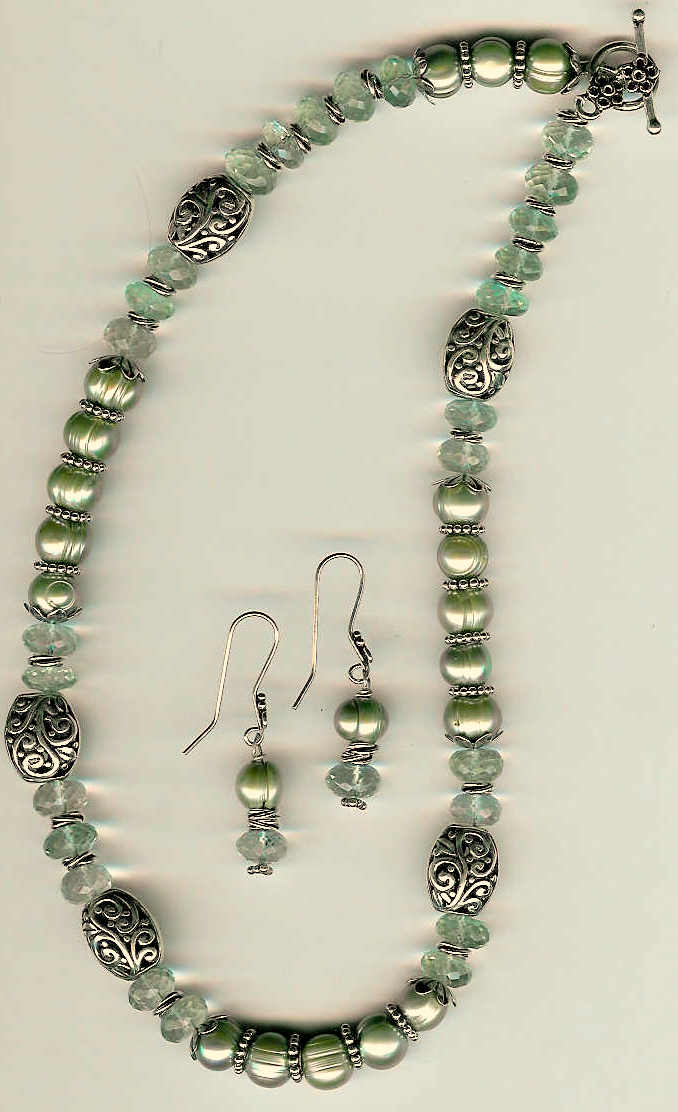 13. Green Amethysts, Grey Freshwater pearls, Bali Sterling Siver + Earrings