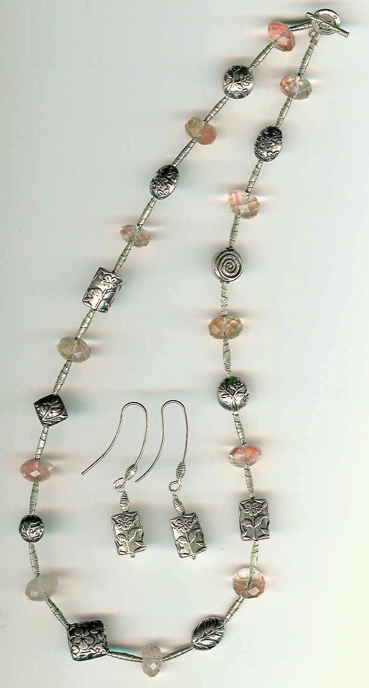 54. Cherry Quartz with Bali and Karen Hill Thai Sterling Silver + Earrings