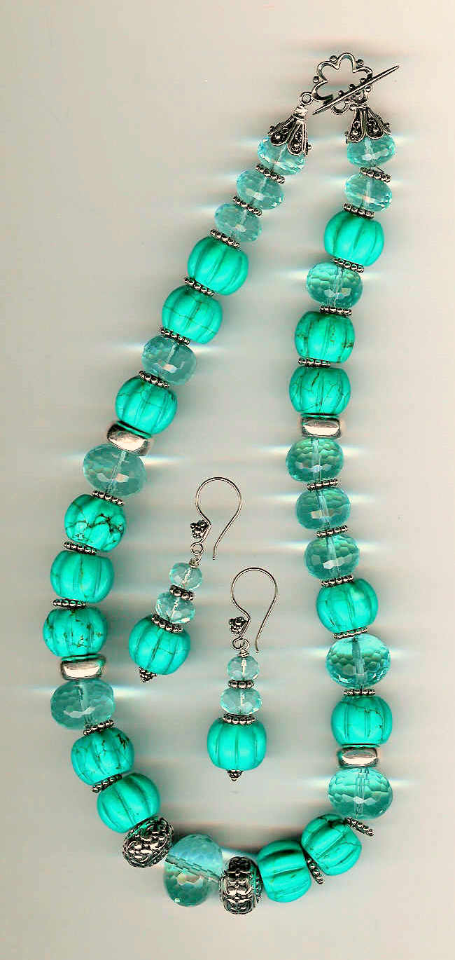 57. Pumpkin Turquoise, Crystals with Bali Sterling Silver + Earrings