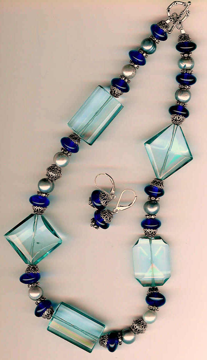 61. Crystals, Blue Amber, Freshwater pearls with Bali Sterling Silver + Earrings