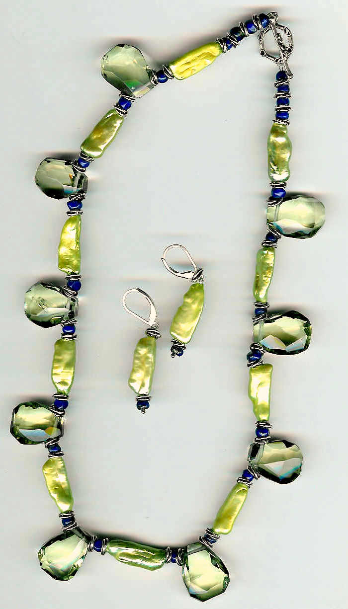 64. Topaz, Biwa Pearls with Lapis Lazuli and Bali Sterling Silver + Earrings