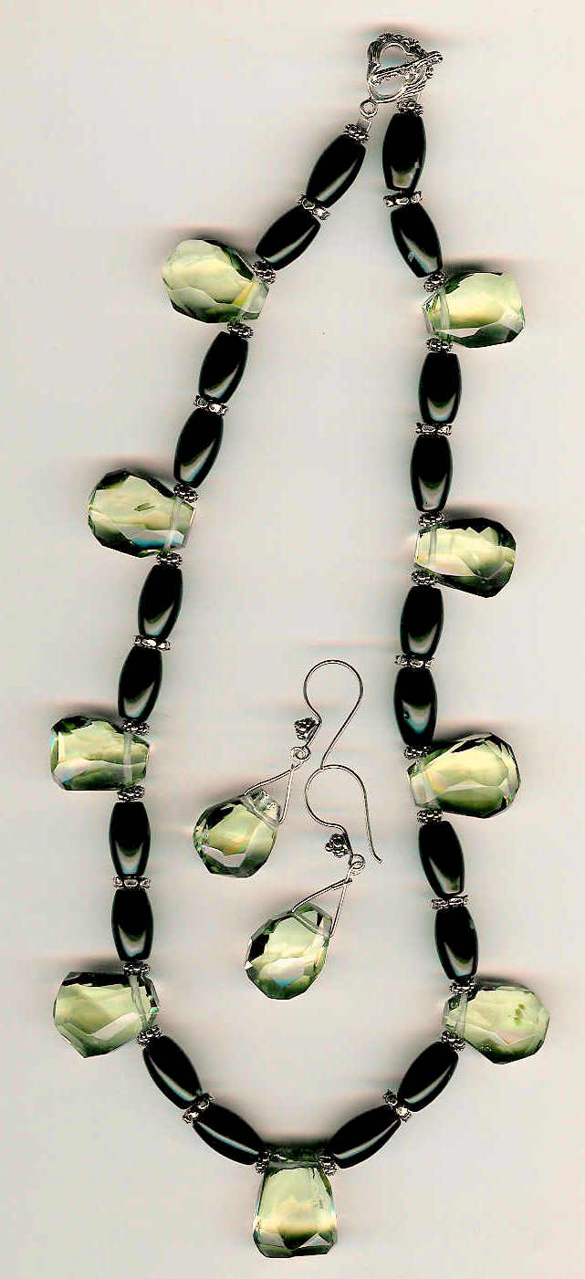 67. Topaz, Black Onyx with Bali Sterling Silver + Earrings