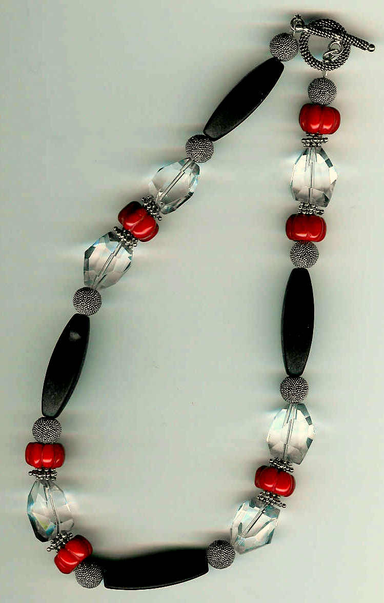 84. Black Onyx, Crystal, Pumpkin carved Coral with Bali Sterling Silver