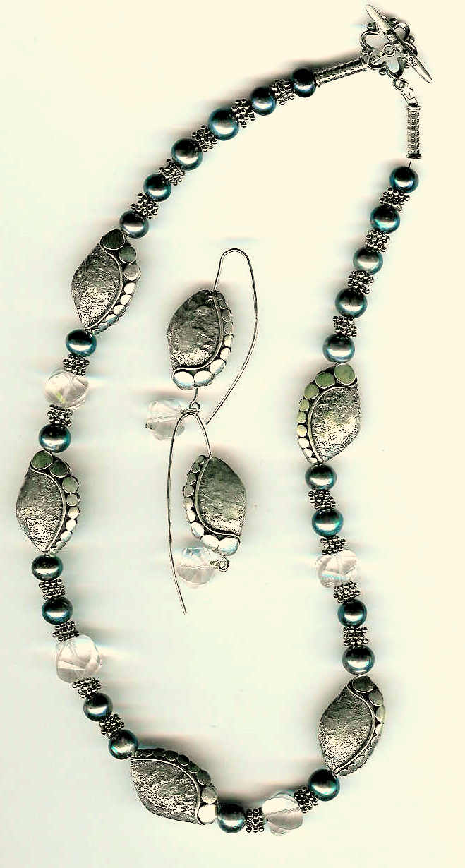 85. Freshwater Pearls, Crystal with Bali Sterling Silver + Earrings