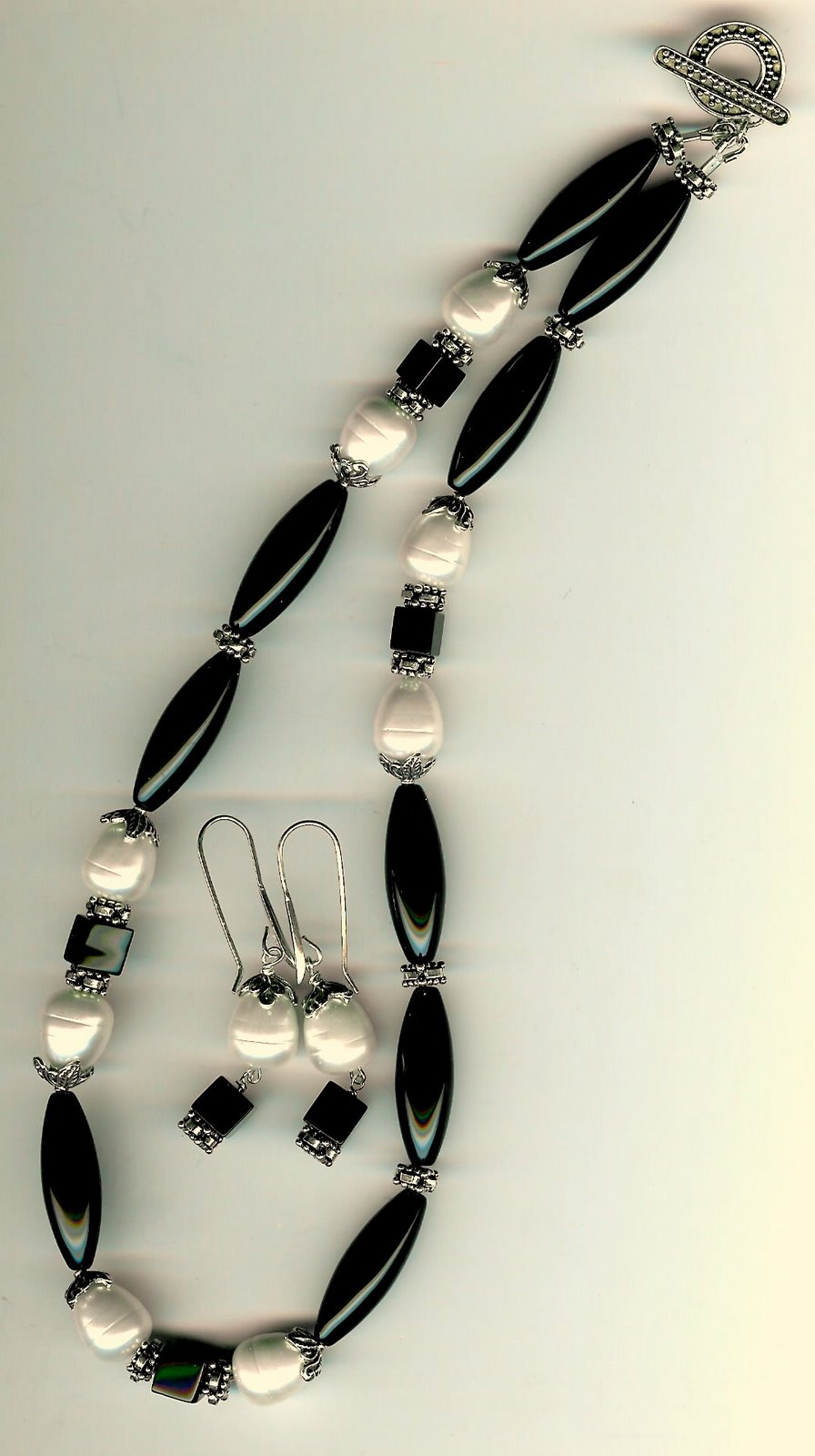 99. Onyx, Shell Pearls with Bali Sterling Siver + Earrings