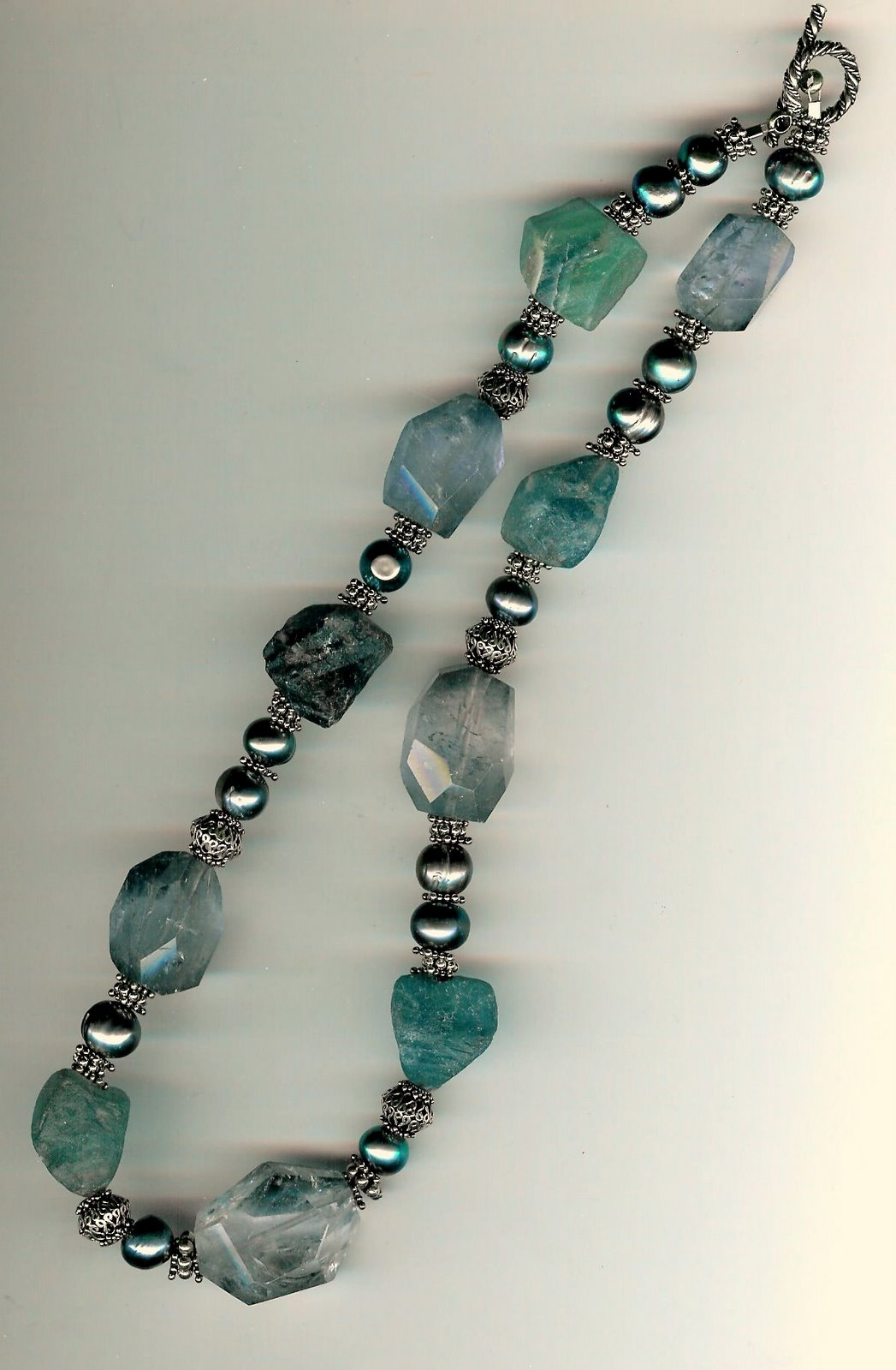 103.  Rugged and cut Fluorite,  Freshwater pearls with Bali Sterling Silver