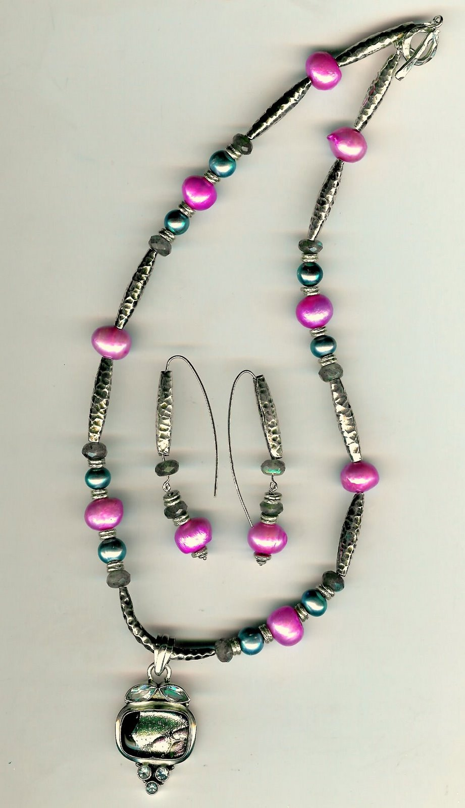 117. Dichroic Glass Pendant, Freshwater Pearls with Karen Hill Thai Sterling Silver + Earrings