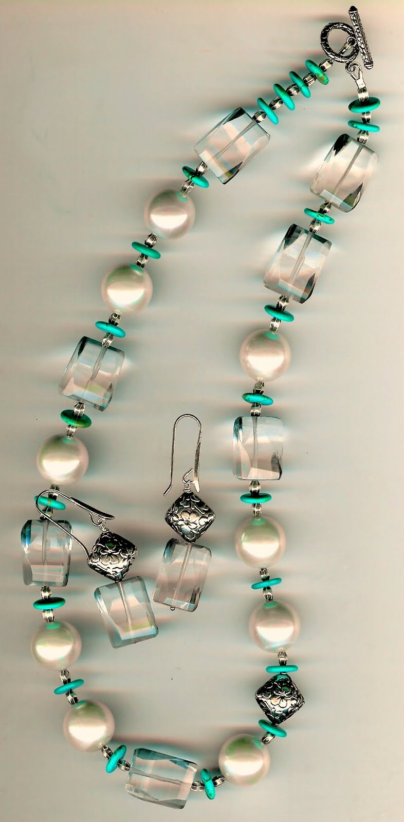 121. Clear Fluorite, Shell pearls, Turquoise with Karen Hill Sterling Silver