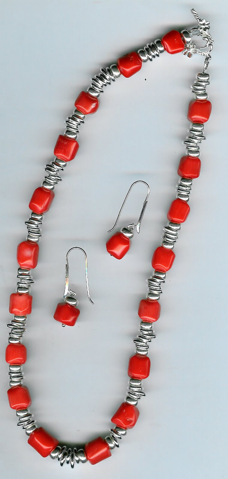 166. Coral with Sterling Silver + Earrings