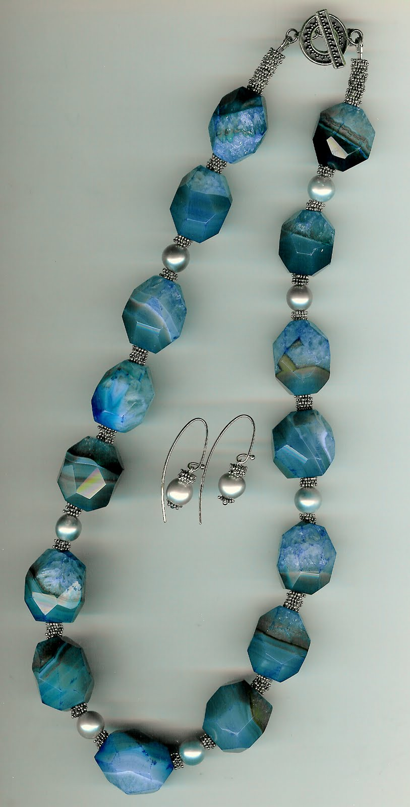 179. Blue Agate, Grey Akoya pearls with Bali Sterling Silver + Earrings