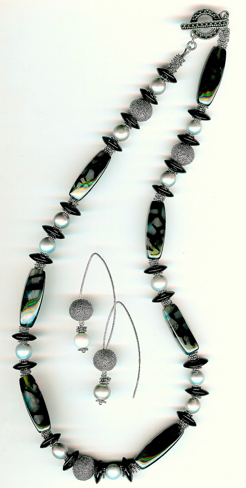 180. Zebra Agate, Black Onyx, Grey Akoya Pearls with Bali Sterling Silver + Earrings