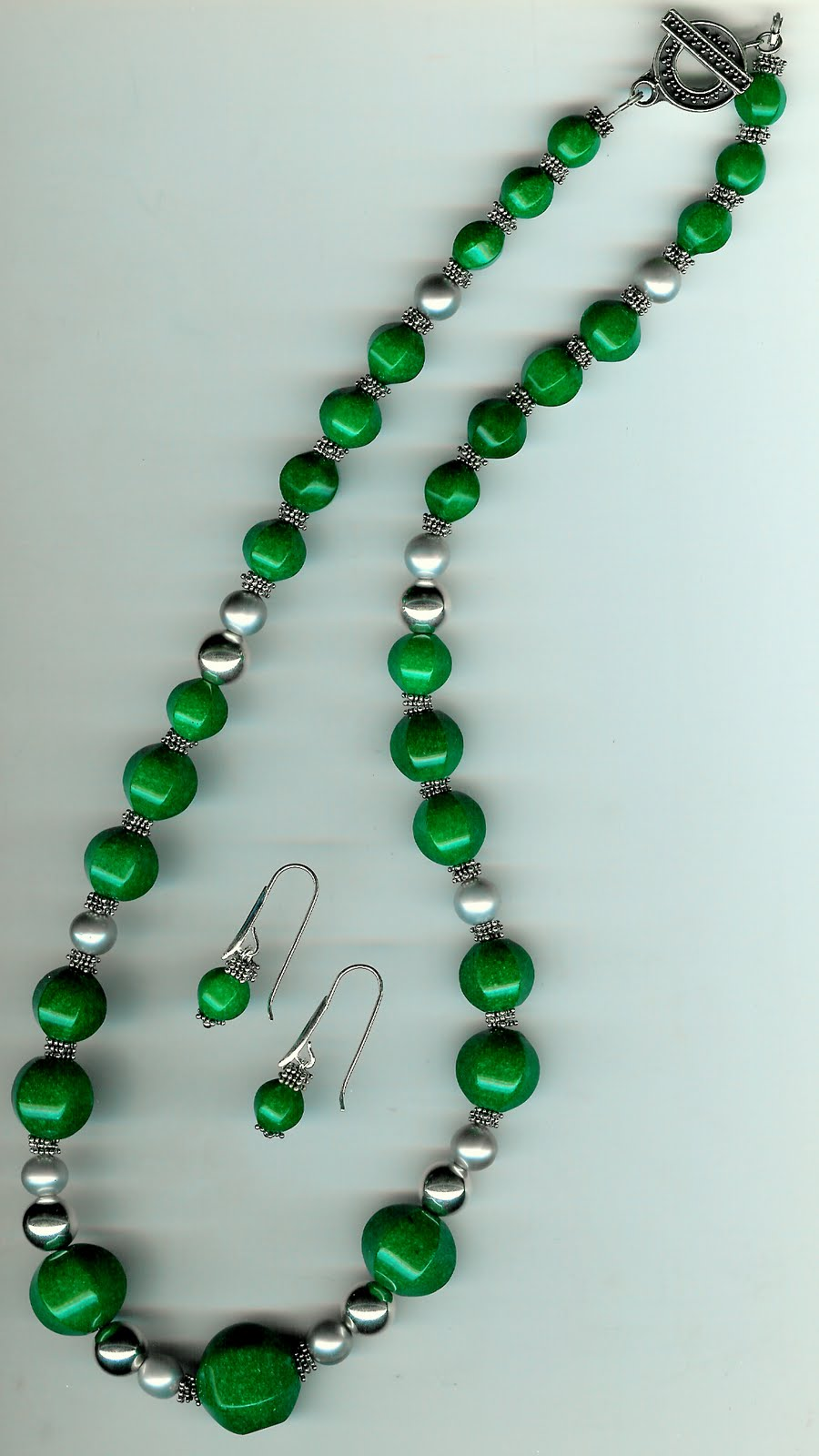 178. Faceted, graduated green jade with Akoya Pearls and Bali Sterling Silver + Earrings